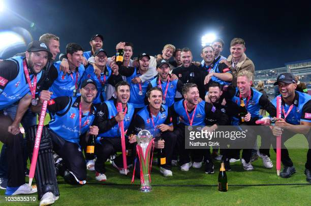 Worcestershire players celebrates during the Vitality Blast Final match between Worcestershire Rapids and Sussex Sharks at Edgbaston on September 15...