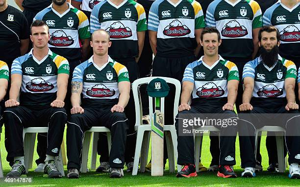 Worcestershire players from left to right Jack Shantry Alexei Kervezee Daryl Mitchell and Moeen Ali pictured in their Pre season Phil Hughes memorial...