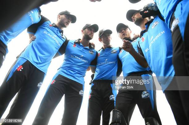 Worcestershire players have a team talk during the Vitality Blast match between Worcestershire Rapids and Derbyshire Falcons at New Road on August 9...