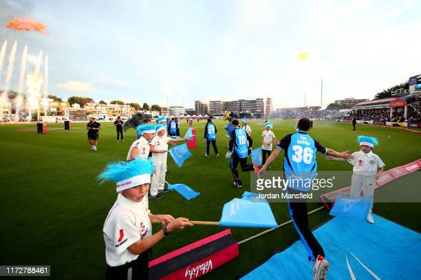 Worcestershire players take to the field to open the fielding during the Vitality T20 Blast Quarter-Final match between Sussex Sharks and...