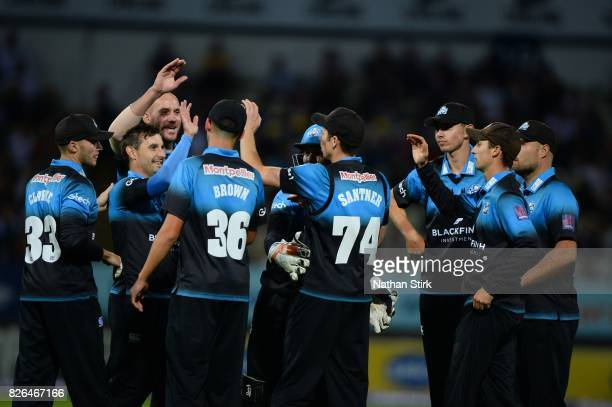Worcestershire Rapids players celebrate during the Natwest T20 Blast match between Birmingham Bears and Worcestershire Rapids at Edgbaston on August...