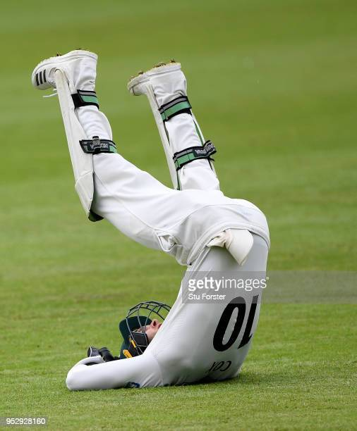 Worcestershire wicketkeeper Ben Cox catches out Stuart Broad during day four of the Specsavers County Championship Division One match between...