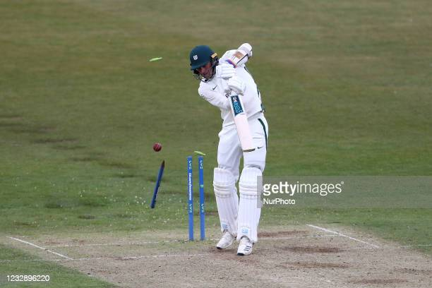 Worcestershire's Charlie Morris is bowled by Durham's Chris Rushworth to give Rushworth is 527th first class wicket brining him level with Graham...