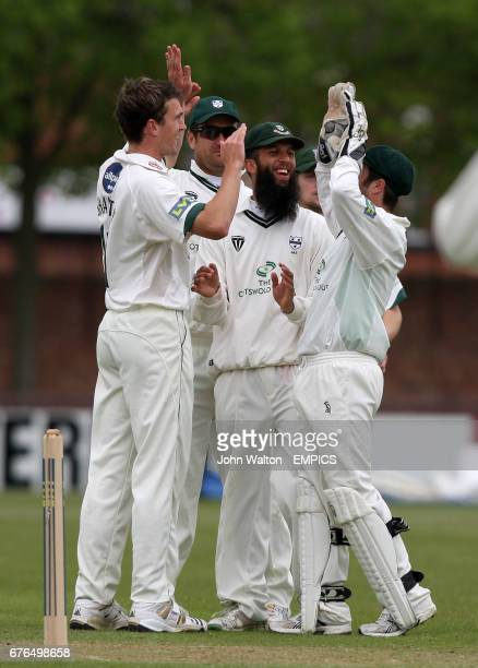 Worcestershire's Jack Shantry celebrates taking the wicket of Leicestershire's Andrew McDonald for 15
