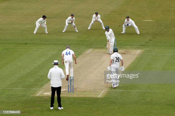 Worcestershire's Jake Libby edges a delivery from Ben Raine to Durham wicket keeper Stuart Poynter during the LV= County Championship match between...