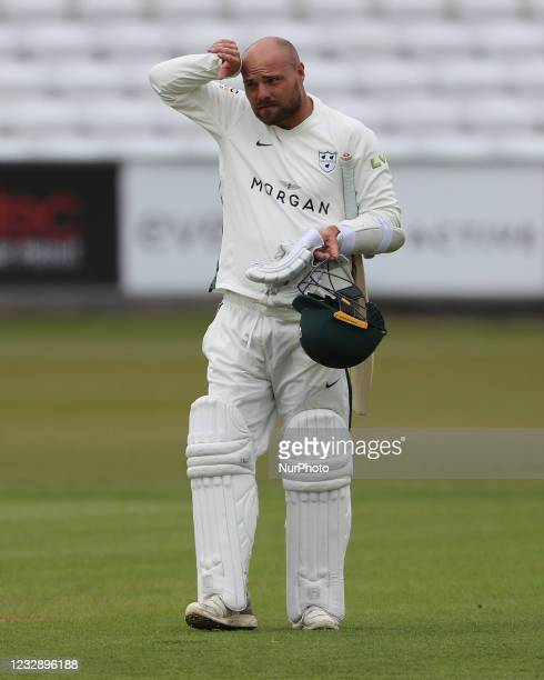 Worcestershire's Joe Leech during the LV= County Championship match between Durham County Cricket Club and Worcestershire at Emirates Riverside,...