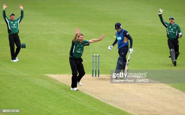 Worcestershire's players led by Ashley Noffke appeal for the wicket of Hampshire's Christopher Benham