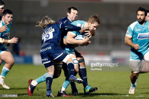 Worchesters Justin Clegg is brought down by Sales FaF de Klerk during the Gallagher Premiership match between Sale Sharks and Worcester Warriors at...