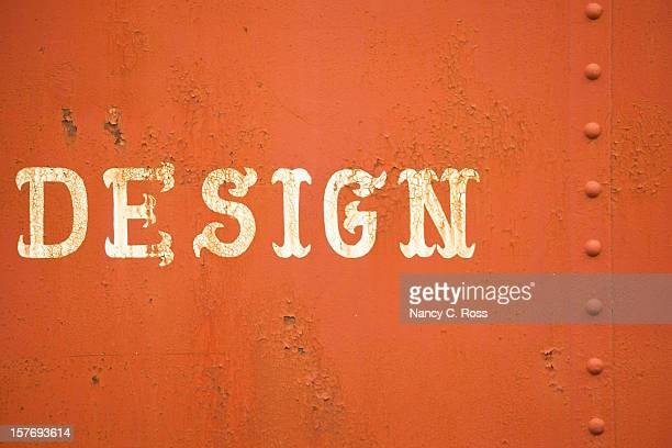 Palavra antiquada Lettering Design em Metal enferrujada