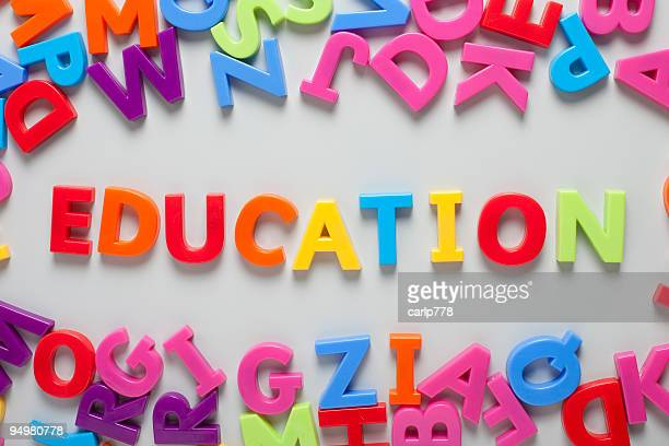 Word education spelt out on board