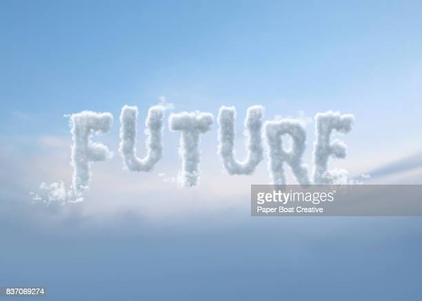 word future formulated in a way that it would look like clouds up in the heaven - typographies stock photos and pictures