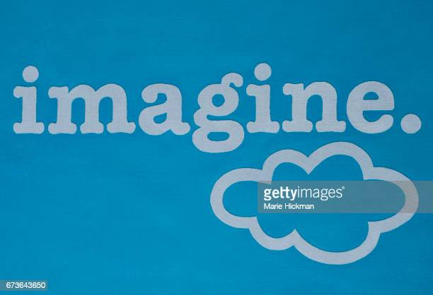 Word 'imagine' with a period and a cloud.