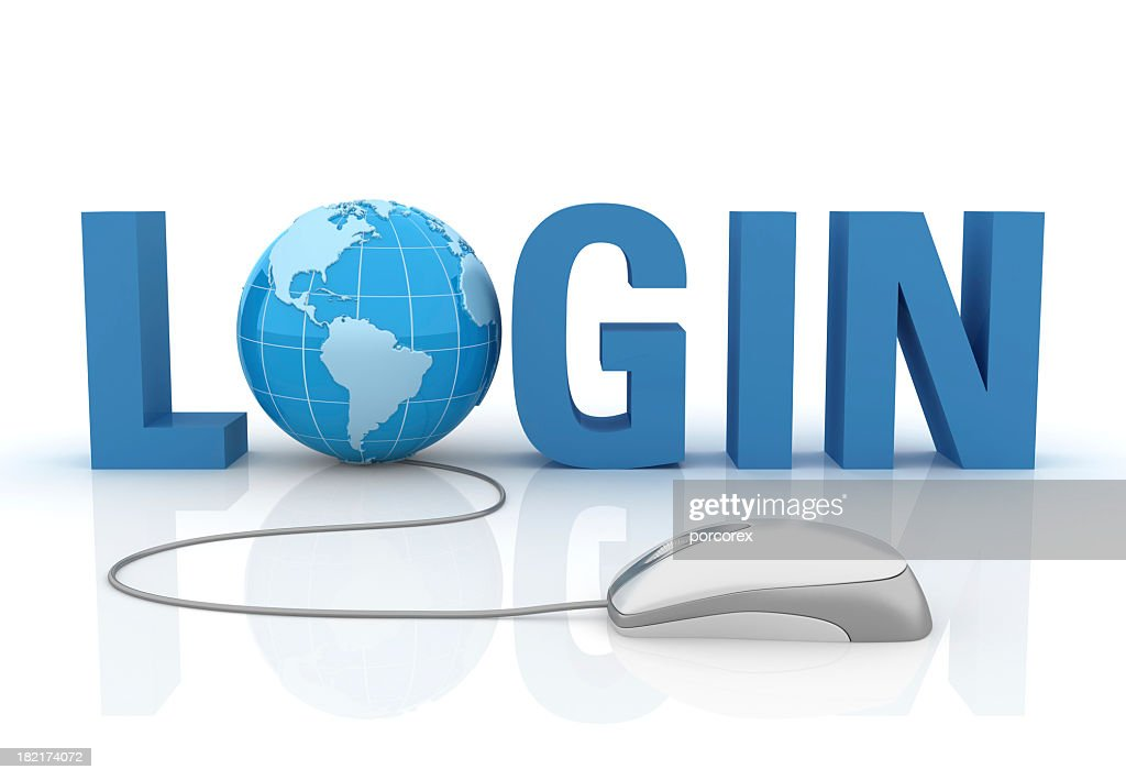 3D Word Login with Earth Globe And Computer Mouse : Stock Photo
