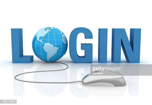 3d word login with earth globe and computer mouse - log on stock photos and pictures