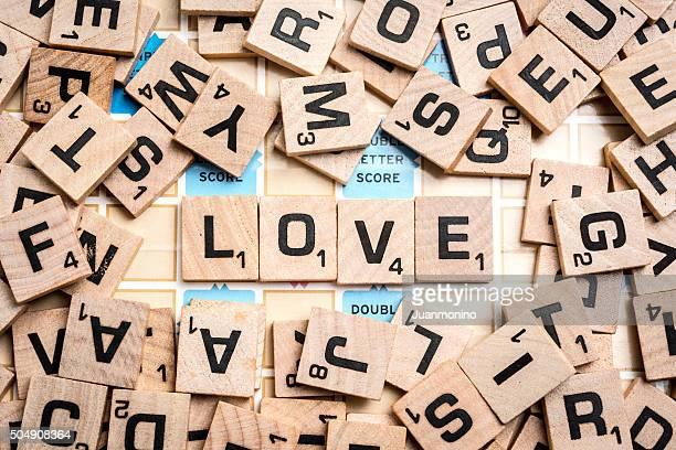 Word LOVE in Scrabble Letters