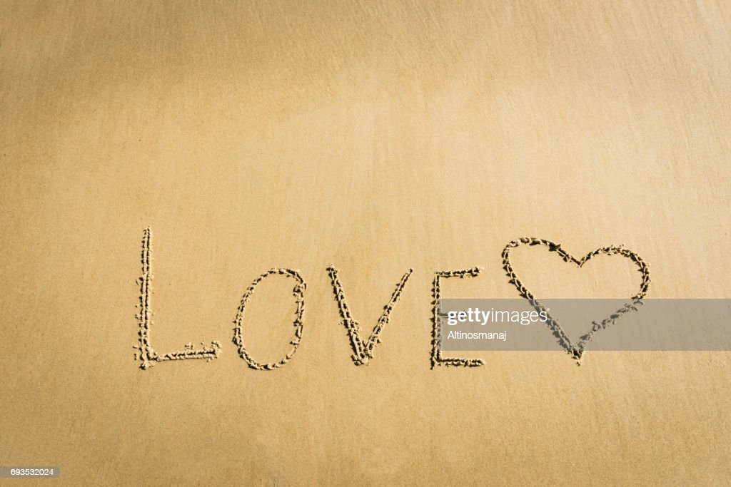 Word Love Written On The Sand Heart Drawn Message Romantic Stock