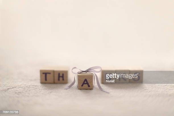 Word Thanks made from building blocks