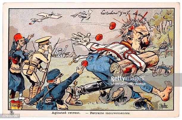 Word War I French Cartoon Agitated Retreat circa 1914