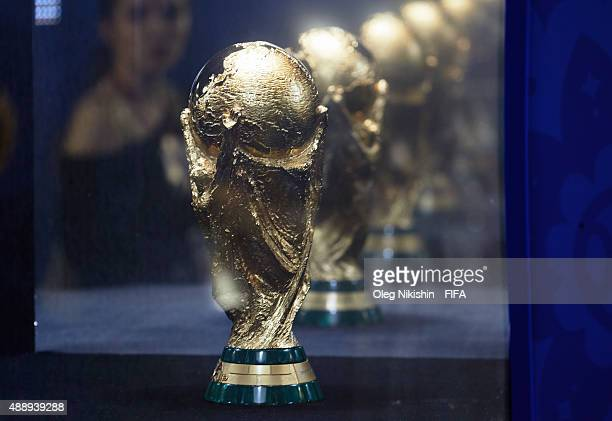 Word Winner's Trophy in Fun Park during FIFA '1000 Days to Go' Russia 2018 at the Red Square on September 18 2015 in Moscow Russia