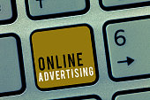 Word writing text Online Advertising. Business concept for Internet Web Marketing to Promote Products and Services