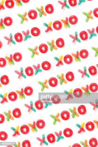 """XOXO"" wording pattern background form by gummy candy."