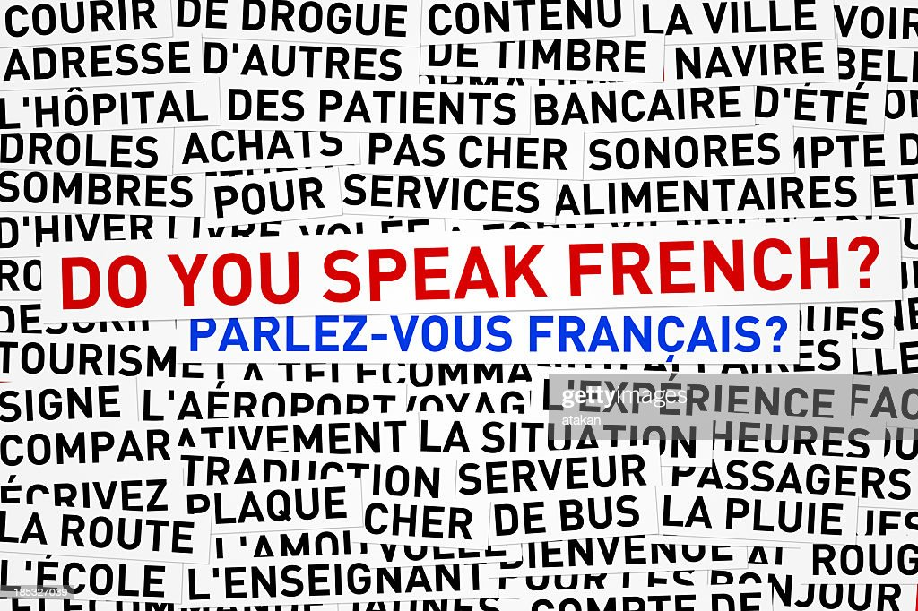 Words in French with English words do you speak French  : Stockfoto