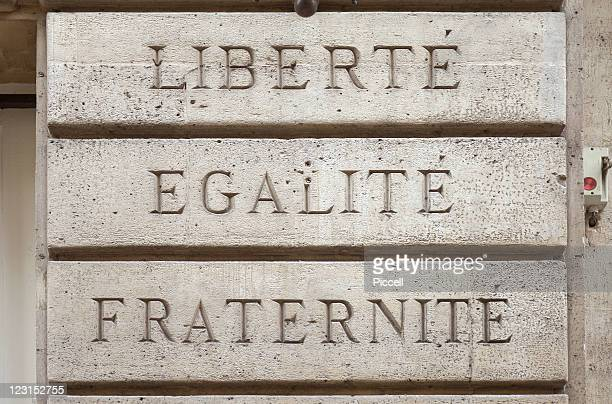 Words: Liberty, Equality, Fraternity cast in concr