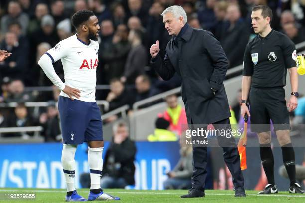 words of wisdom from Jose Mourinho for Tottenham defender Danny Rose during the Premier League match between Tottenham Hotspur and Liverpool at the...