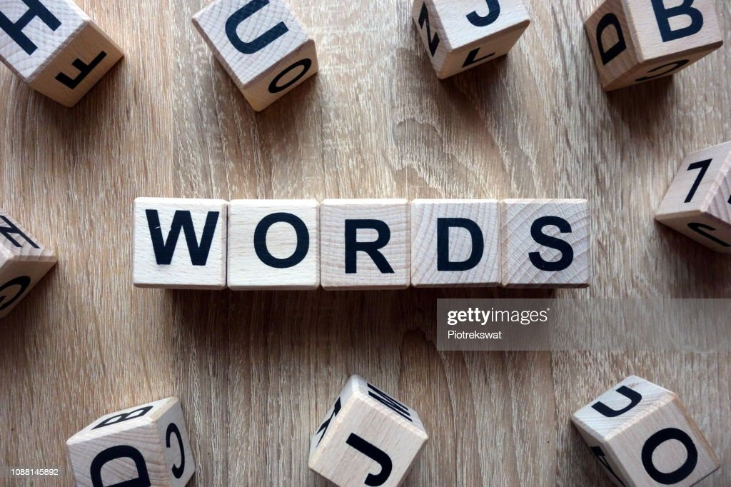 Words text from wooden blocks : Stock Photo