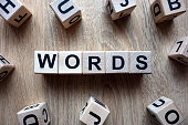 Words text from wooden blocks