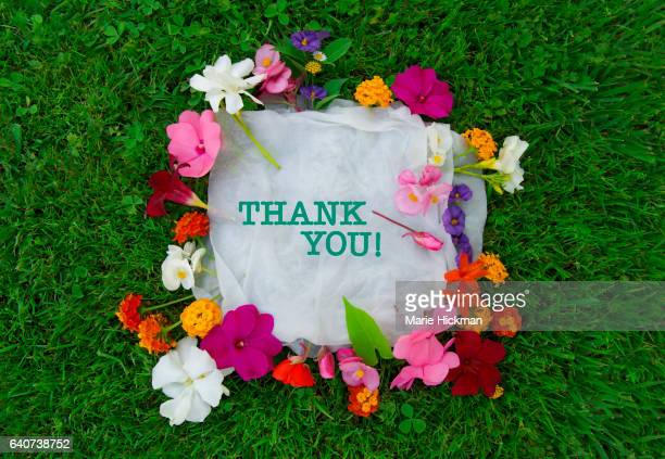 Words 'THANK YOU' on white sheets surrounded by multi-colored flowers all laying on green grass.