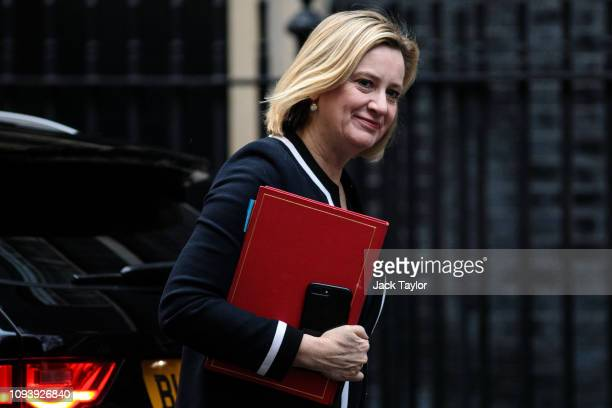 Work and Pensions Secretary Amber Rudd arrives for the weekly Cabinet meeting at Number 10 Downing Street on February 5 2019 in London England...