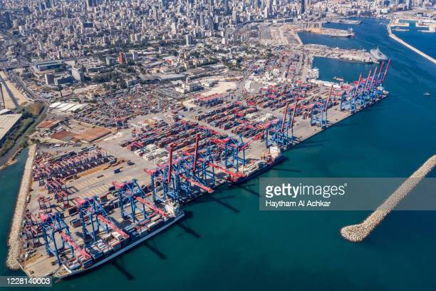 Work at the Beirut Port resumes at the container terminal which remains operational after deadly blast on August 21, 2020 in Beirut, Lebanon. The...