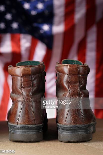 work boots and us flag - labor day stock pictures, royalty-free photos & images