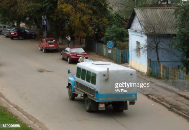 A work bus in Vitebsk Belarus Note that the exhaust pipe runs through the rear compartment to provide heat for any passengers