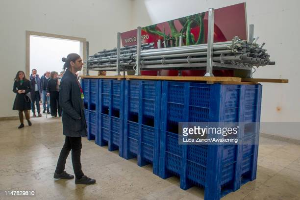 Work by artist Natascha Sadr Haghighian is displayed in the German Pavillion is seen at Giardini during the press previews of the 58th International...