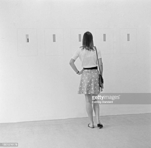 Work by Irish-born conceptual artist Michael Craig-Martin at an exhibition, UK, 21st June 1973. The piece is one of his 1973 works of the...
