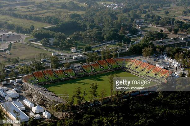 Work continues at Deodoro Stadium site of the Rugby Sevens competition in preparation for the 2016 Olympic Games on July 4 2016 in Rio de Janeiro...