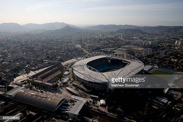 Work continues at the Olympic Stadium in preparation for the 2016 Olympic Games on July 4 2016 in Rio de Janeiro Brazil
