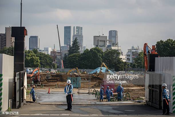 Work continues at the site of the new National stadium and the planned main site of the Tokyo 2020 summer Olympics on June 25 2015 in Tokyo Japan...