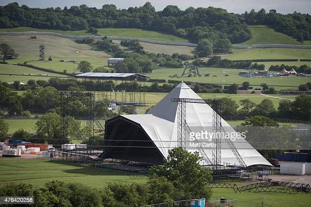 Work continues at Worthy Farm as the farm prepares for this year's Glastonbury Festival in Pilton near Glastonbury on June 8 2015 in Somerset England...