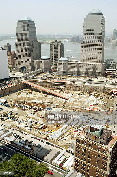 Work continues June 10 2002 at Ground Zero of the World Trade Center terrorist attacks in New York City June 11 2002 is the 9month anniversary of the...