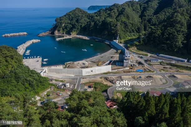 Work continues on a seawall in Tanohata Bay near Miyako, one of the towns hit by the 2011 Tohoku earthquake and tsunami, on August 01, 2019 near...