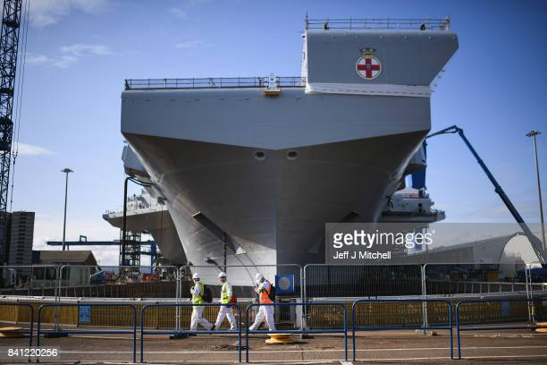Work continues on board the HMS Prince of Wales the second of the Queen Elizabeth class aircraft carriers under construction at Rosyth Dockyard on...