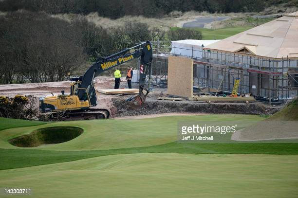 Work continues on Donald Trump's golf course currently under construction on the Menie estate on April 23 2012 in Aberdeen Scotland Mr Trump will...