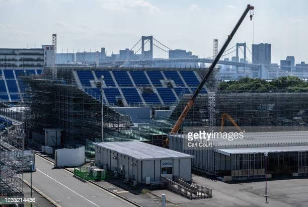 Work continues on the Ariake Urban Sports Park, one of the venues for the Tokyo Olympics, on June 1, 2021 in Tokyo, Japan. With foreign spectators...