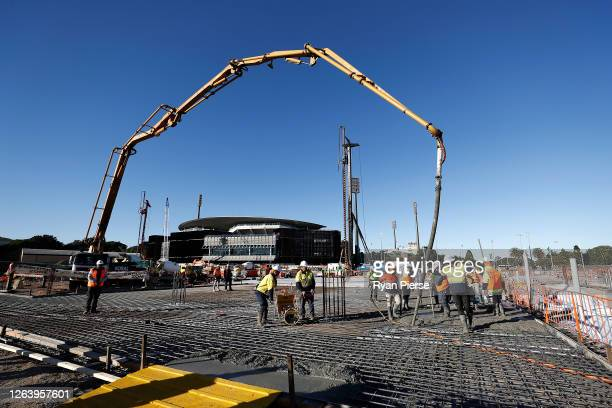 Work continues on the first concrete slab at the new Sydney Football Stadium on August 05 2020 in Sydney Australia Construction on the new stadium...