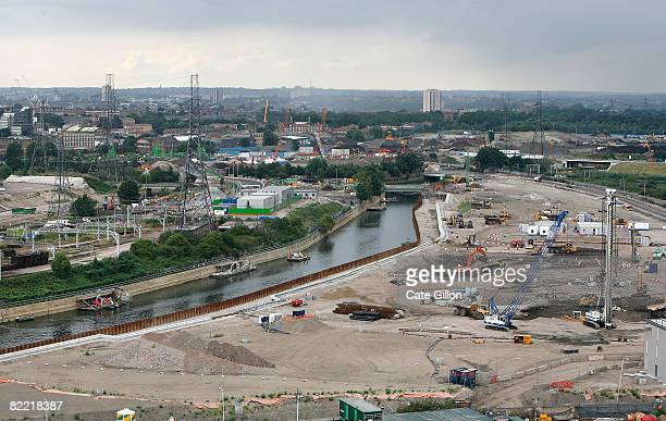 Work continues on the London Olympic Park site on August 8 2008 in London England On the opening day of the Olympic games in Beijing construction...