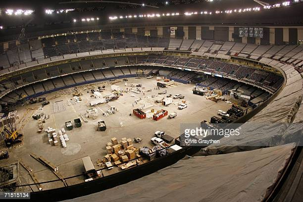 Work continues on the Louisiana Superdome to repair damage from Hurricane Katrina on July 25 2006 in New Orleans Louisiana The Superdome is scheduled...