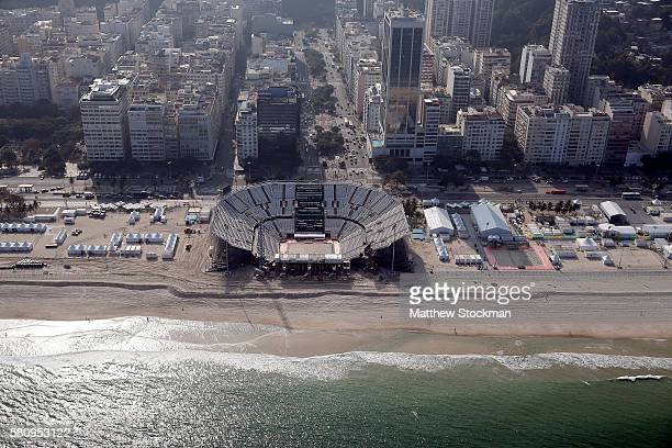 Work continues on the Olympic Beach Volleyball Arena in preparation for the 2016 Summer Olympic Games on July 25 2016 in Rio de Janeiro Brazil